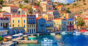 Famous pastel-coloured houses on Symi.