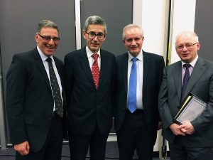 HAL National Past President Steve Stevens, the Hon. Geoffrey Nettle, Justice Emilios Kyrou and Andrew Panna QC at the inaugural Victorian Chapter Oration in August 2017.